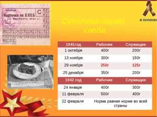 Суточная норма хлеба 1941год Рабочие Служащие 1 октября 400г 200г 13 ноября 3