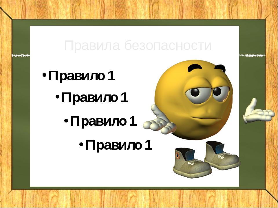 Правила безопасности Правило 1 Правило 1 Правило 1 Правило 1