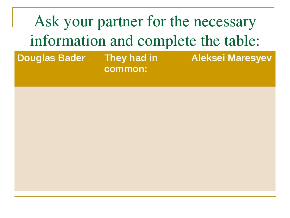 Ask your partner for the necessary information and complete the table: Dougla...