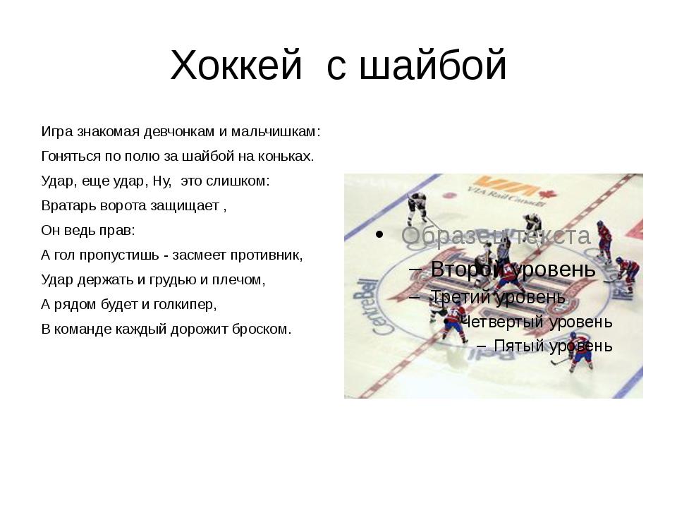 Хоккей с шайбой Игра знакомая девчонкам и мальчишкам: Гоняться по полю за шай...