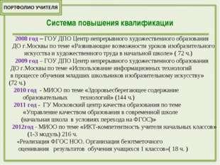 2008 год – ГОУ ДПО Центр непрерывного художественного образования ДО г.Москв
