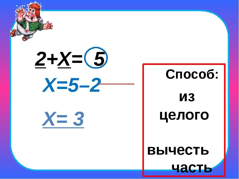 2+Х= 5 Х=5–2 Х= 3 Способ: из целого вычесть часть