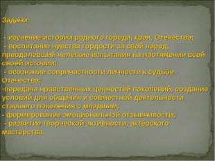 Задачи: - изучение истории родного города, края, Отечества; - воспитание чувс
