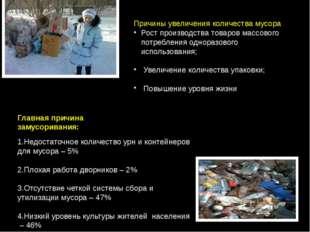 Причины увеличения количества мусора Рост производства товаров массового потр