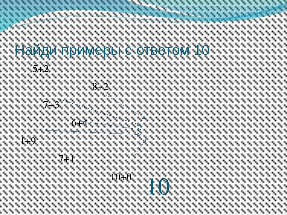Найди примеры с ответом 10 5+2 8+2 7+3 6+4 1+9 7+1 10+0 10