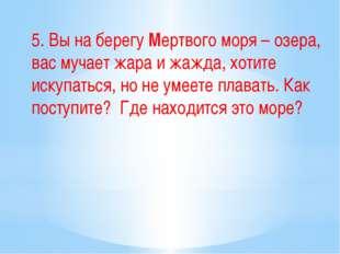 5. Вы на берегу Мертвого моря – озера, вас мучает жара и жажда, хотите искупа