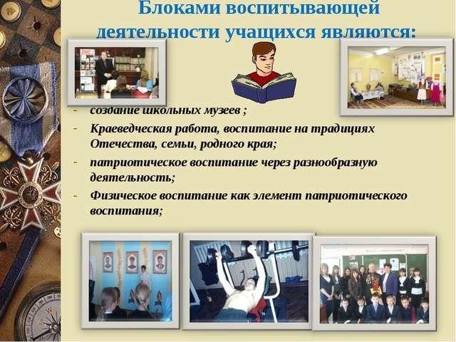 Блоками воспитывающей деятельности учащихся являются: создание школьных музе...