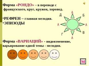 Форма «РОНДО» - в переводе с французского, круг, кружок, хоровод. РЕФРЕН – гл