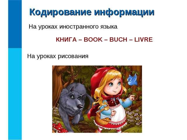 На уроках иностранного языка КНИГА – BOOK – BUCH – LIVRE На уроках рисования...