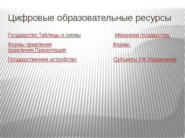 Цифровые образовательные ресурсы Государство.Таблицы и схемы        ...