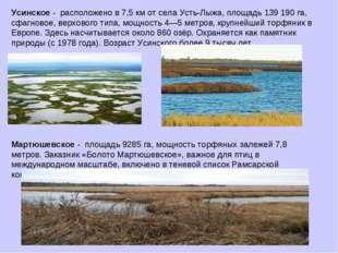 Усинское - расположено в 7,5 км от села Усть-Лыжа, площадь 139 190 га, сфагно