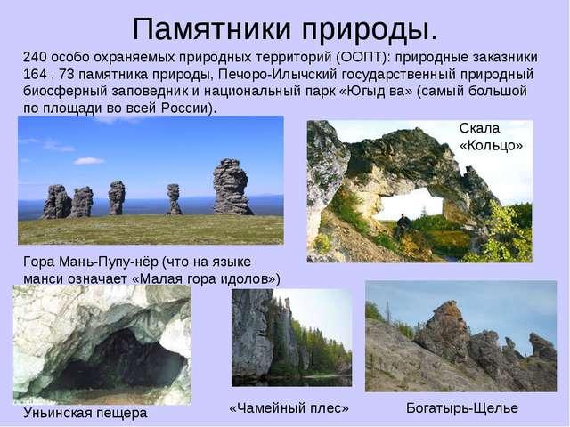 Памятники природы. 240 особо охраняемых природных территорий (ООПТ): природны...