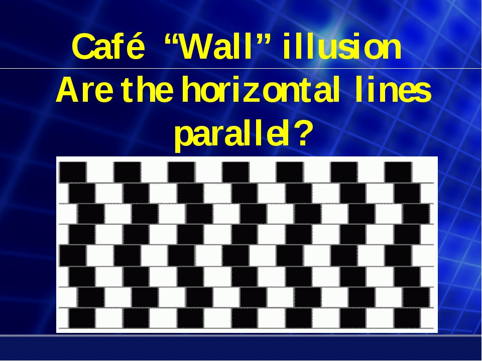 """Café """"Wall"""" illusion Are the horizontal lines parallel?"""