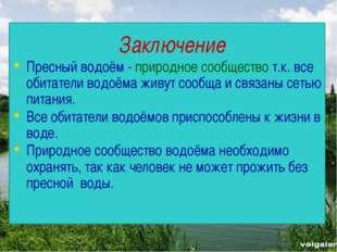 Заключение Пресный водоём - природное сообщество т.к. все обитатели водоёма