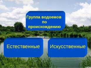 Группа водоемов по происхождению Естественные Искусственные