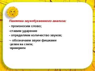 * Приложение № 3 Приложение № 3 Памятка звукобуквенного анализа: - произносим