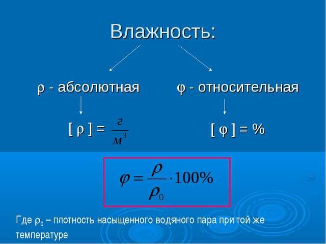 Влажность:  - абсолютная [  ] =  - относительная [  ] = % Где 0 – плотно...