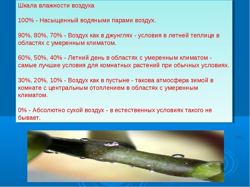 Шкала влажности воздуха 100% - Насыщенный водяными парами воздух. 90%, 80%, 7...