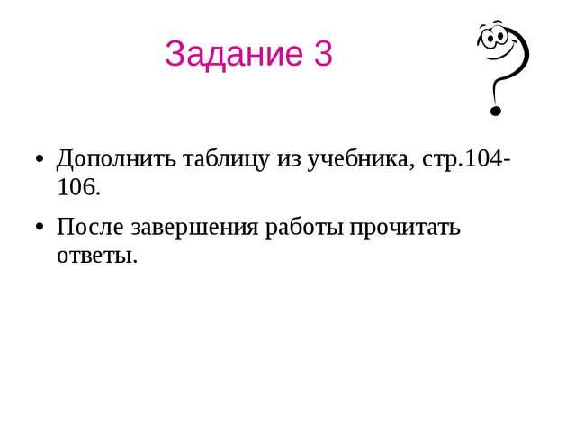 Задание 3 Дополнить таблицу из учебника, стр.104-106. После завершения работы...