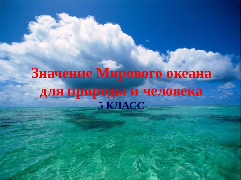 Значение Мирового океана для природы и человека 5 КЛАСС