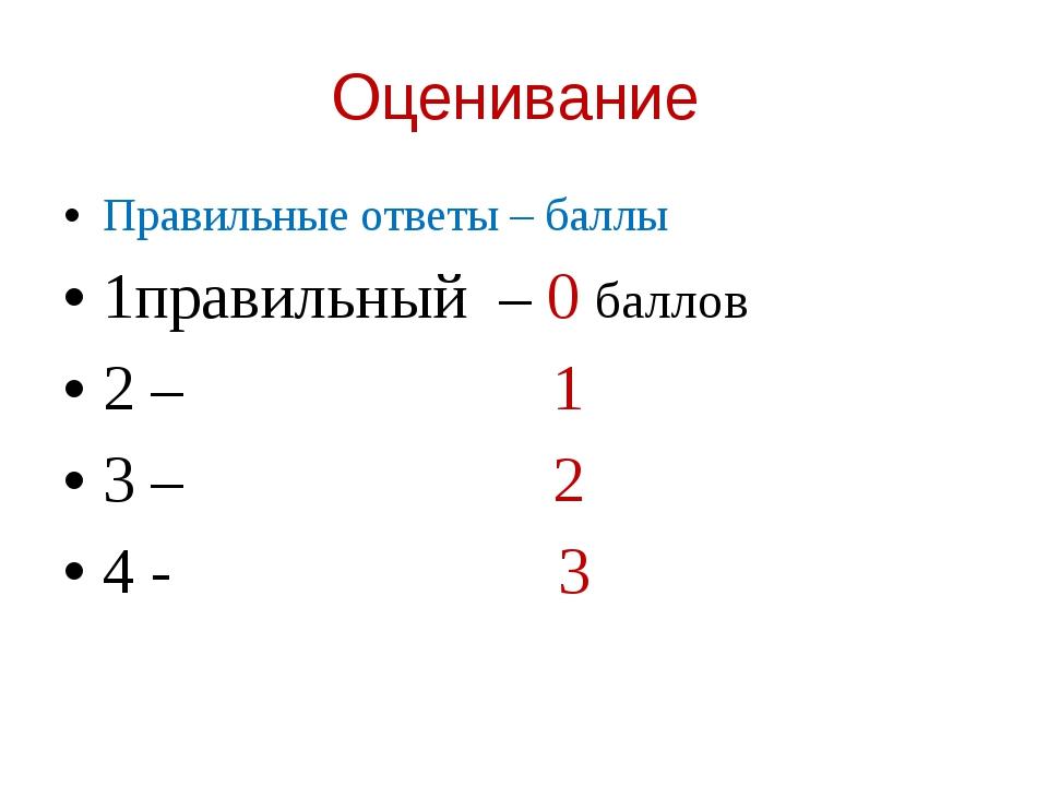 Оценивание Правильные ответы – баллы 1правильный – 0 баллов 2 – 1 3 – 2 4 - 3