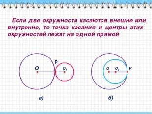 Если две окружности касаются внешне или внутренне, то точка касания и центры
