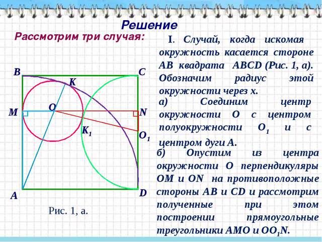 Решение I. Случай, когда искомая окружность касается стороне АВ квадрата АВСD...