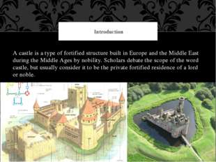 A castle is a type of fortified structure built in Europe and the Middle East