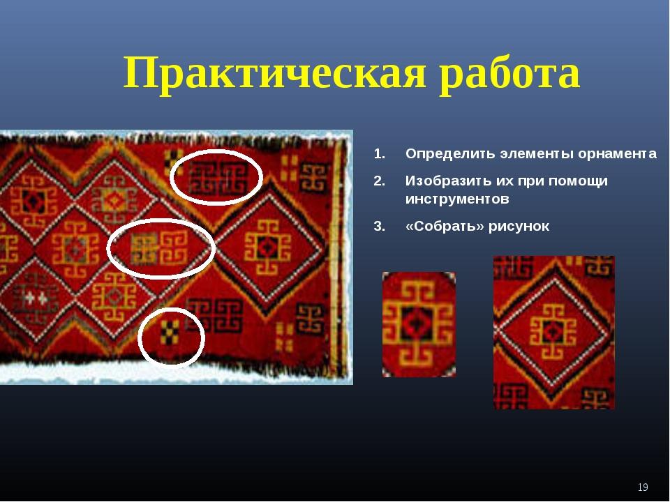 Практическая работа Определить элементы орнамента Изобразить их при помощи ин...