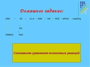Домашнее задание: NH3 ← N2 → Li 3N → NH3 → NO → NO2 → HNO3 →Сu(NO3)2 ↓ NO ↓ N