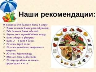 В питании всё должно быть в меру; Пища должна быть разнообразной; Еда должна