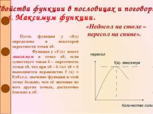 Свойства функции в пословицах и поговорках 5. Максимум функции. Пусть функция