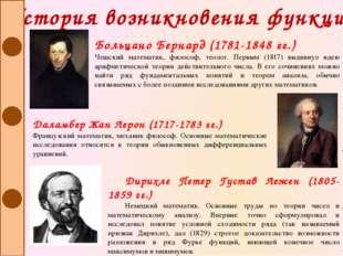 История возникновения функции Больцано Бернард (1781-1848 гг.) Чешский матема