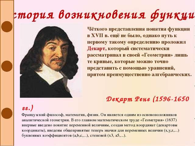 История возникновения функции Чёткого представления понятия функции в XVII в....