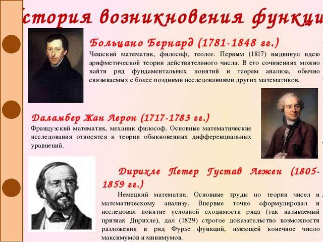 История возникновения функции Больцано Бернард (1781-1848 гг.) Чешский матема...