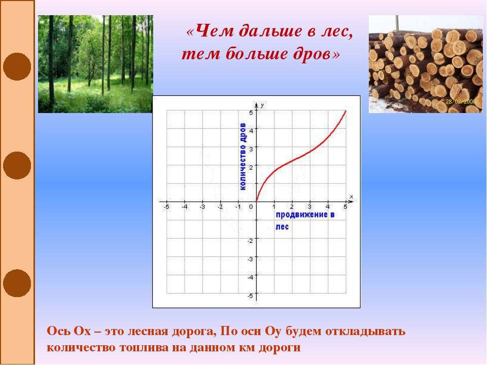«Чем дальше в лес, тем больше дров» Ось Ох – это лесная дорога, По оси Оу бу...