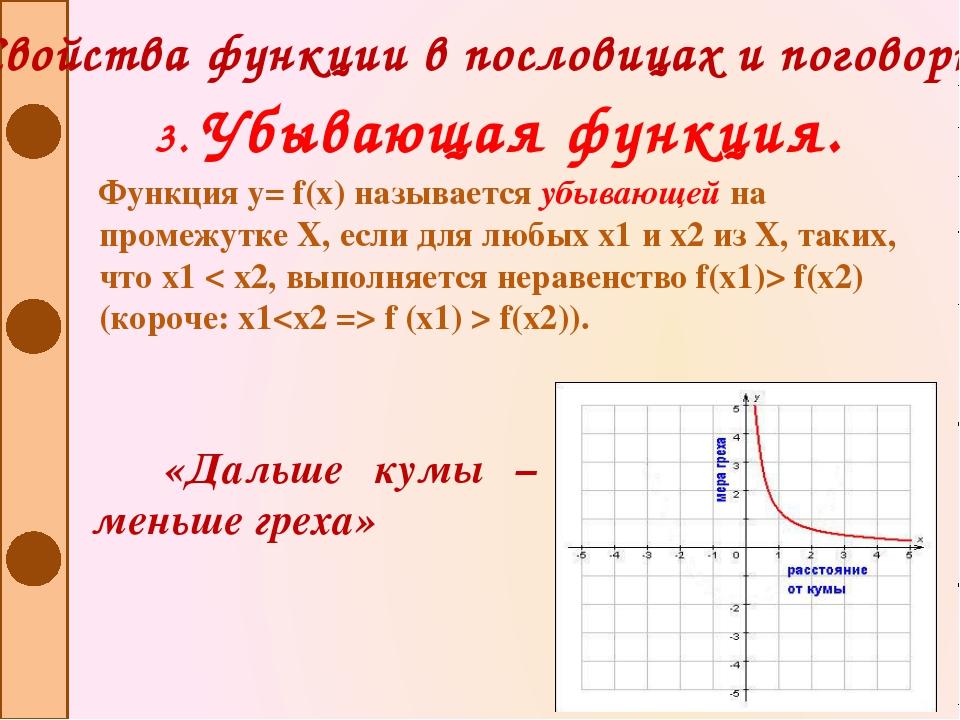Свойства функции в пословицах и поговорках 3. Убывающая функция. Функция y= f...
