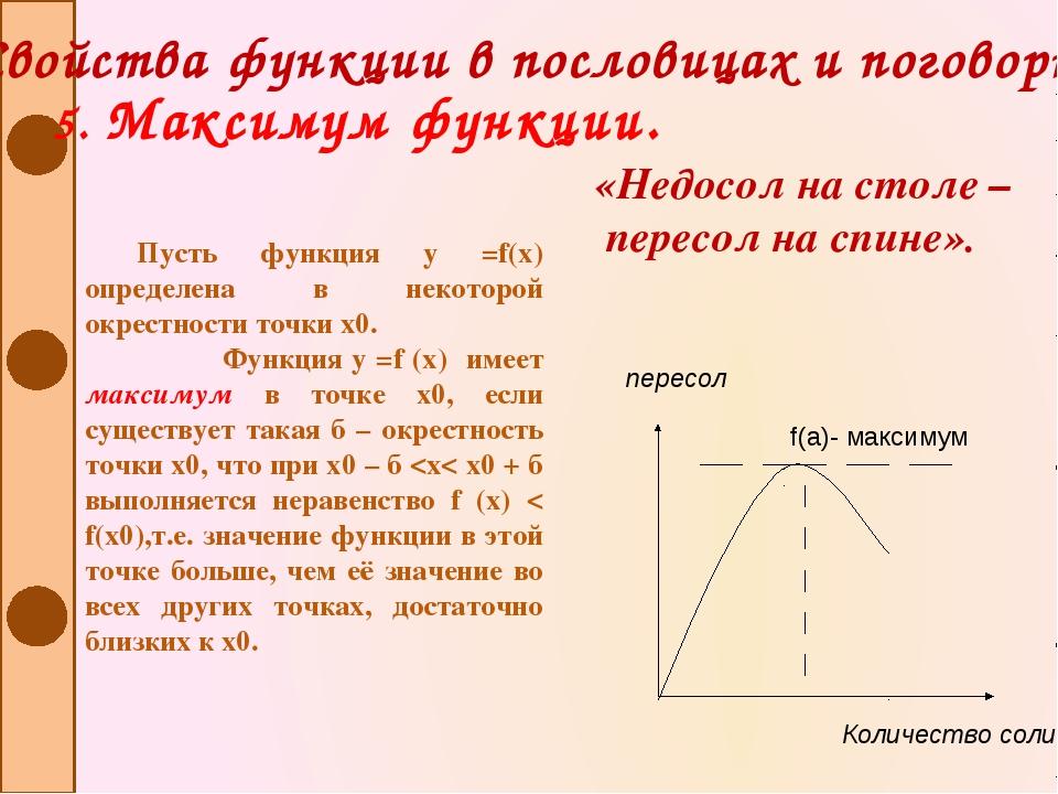 Свойства функции в пословицах и поговорках 5. Максимум функции. Пусть функция...