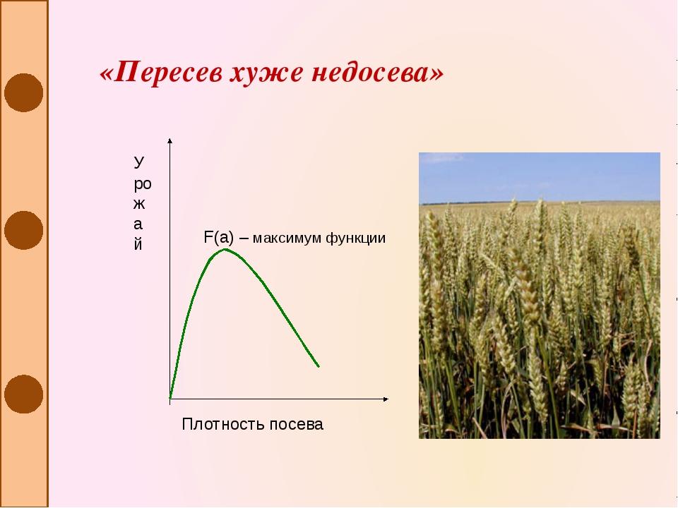 «Пересев хуже недосева» F(a) – максимум функции Плотность посева Урожай