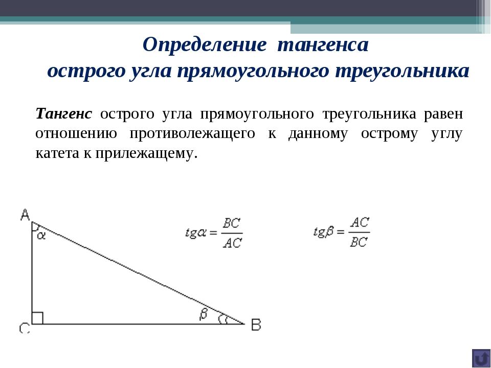 Определение тангенса острого угла прямоугольного треугольника Тангенс острого...