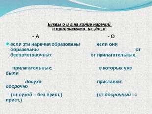 Буквы о и а на конце наречий с приставками из-,до-,с- - А - О если эти нареч