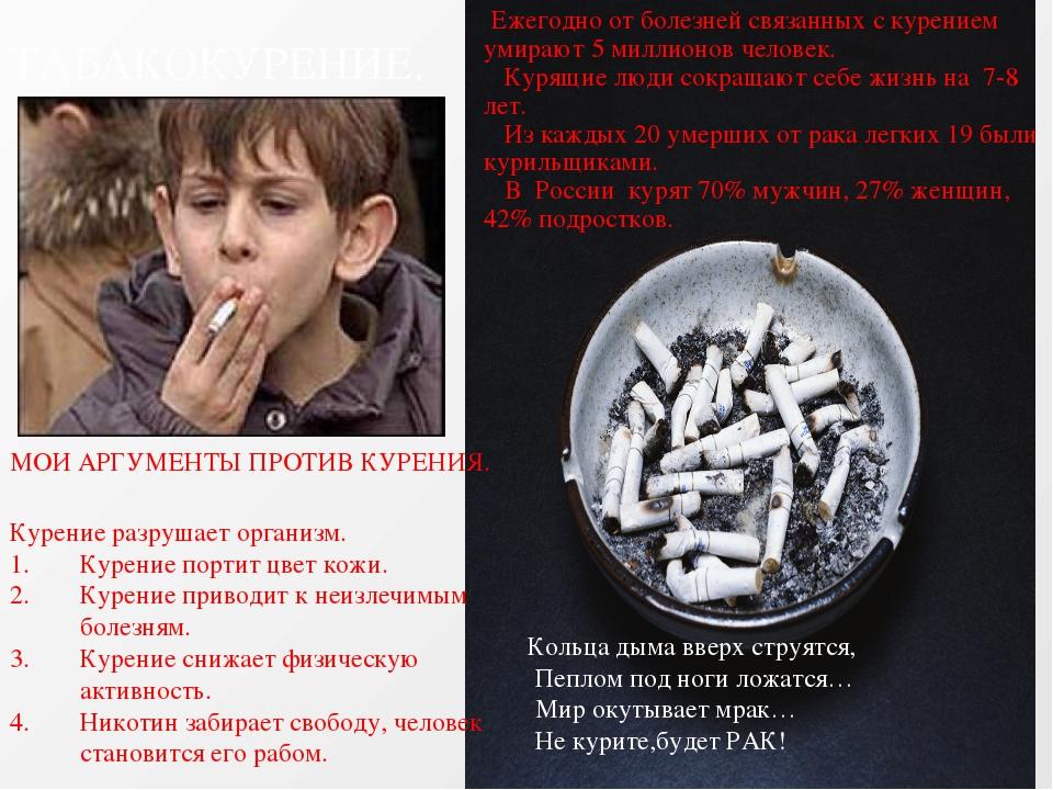 ТАБАКОКУРЕНИЕ. Ежегодно от болезней связанных с курением умирают 5 миллионов...
