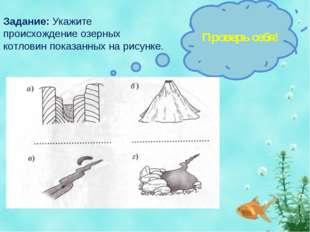 Задание: Укажите происхождение озерных котловин показанных на рисунке. Провер