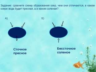 Задание: сравните схему образования озер, чем они отличаются, в каком озере