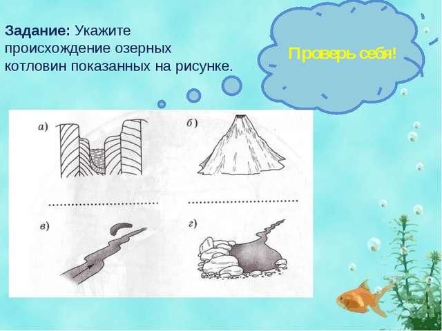 Задание: Укажите происхождение озерных котловин показанных на рисунке. Провер...