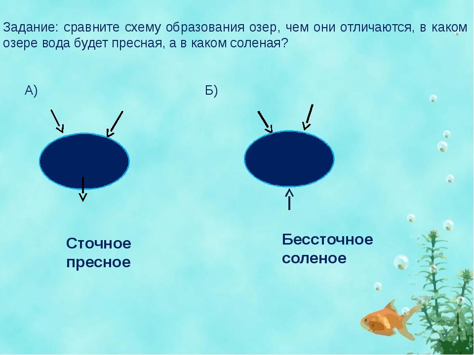 Задание: сравните схему образования озер, чем они отличаются, в каком озере...