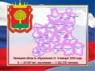 Липецкая область образованаот 6 января1954 года. S— 24047 км², населени