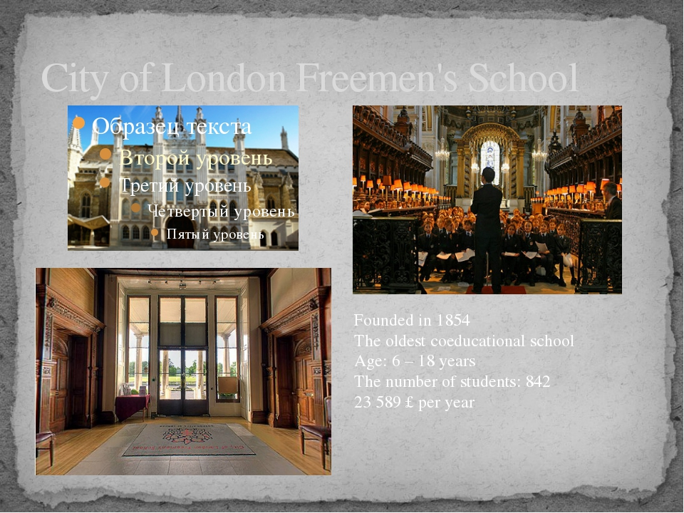 City of London Freemen's School Founded in 1854 The oldest coeducational scho...
