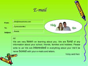 E-mail Hi! We are very keen on learning about you. We are fond of any informa