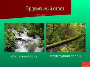 Правильный ответ Эпитет Изумрудная зелень Хрустальный поток